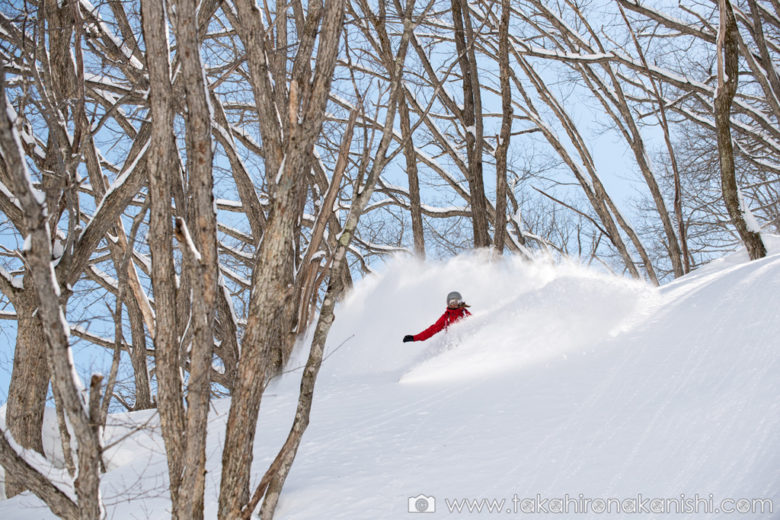 First tracks in deep powder on a bluebird days – Hakuba-Norikura, Japan