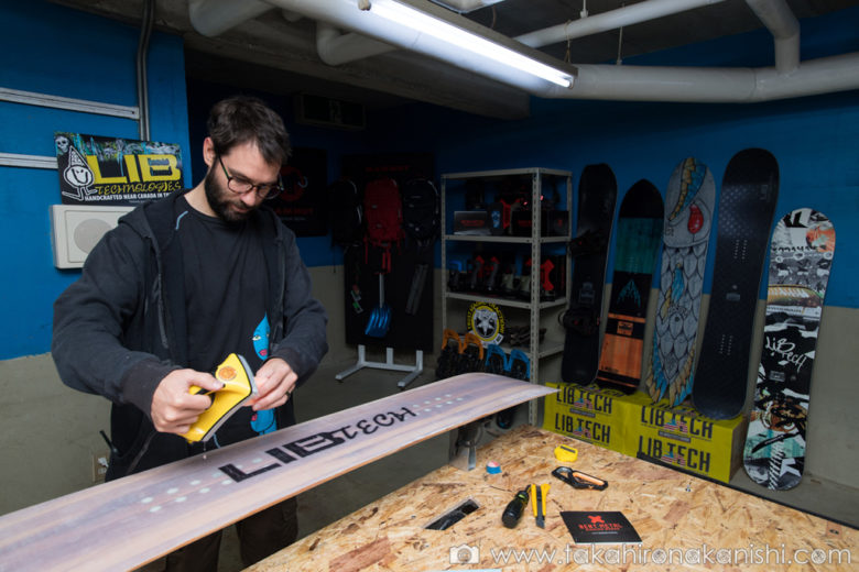 Waxing workshop and gear rental (Shred Optics, West snowboards, Lib Tech, Bent Metal, Mammut)