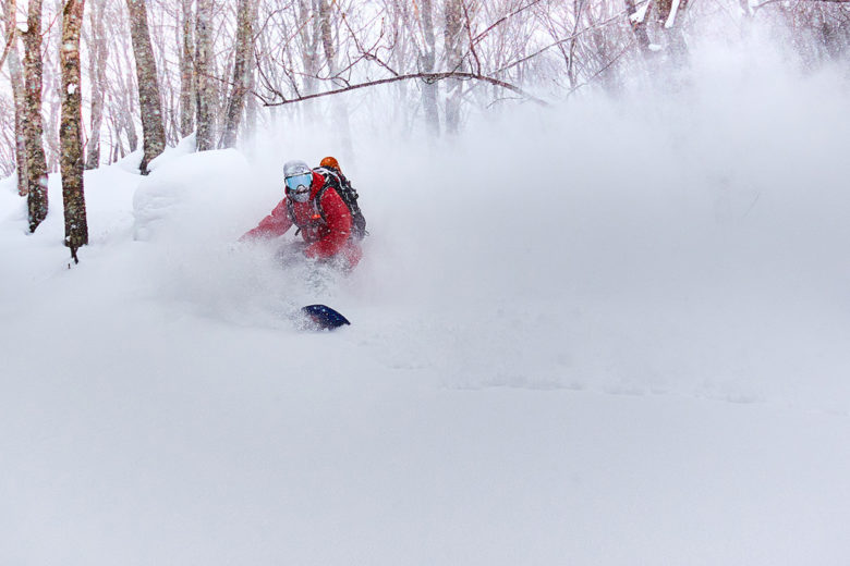 Accessing deep powder first tracks with snowshoes in Japow – Hakuba-Cortina, Japan