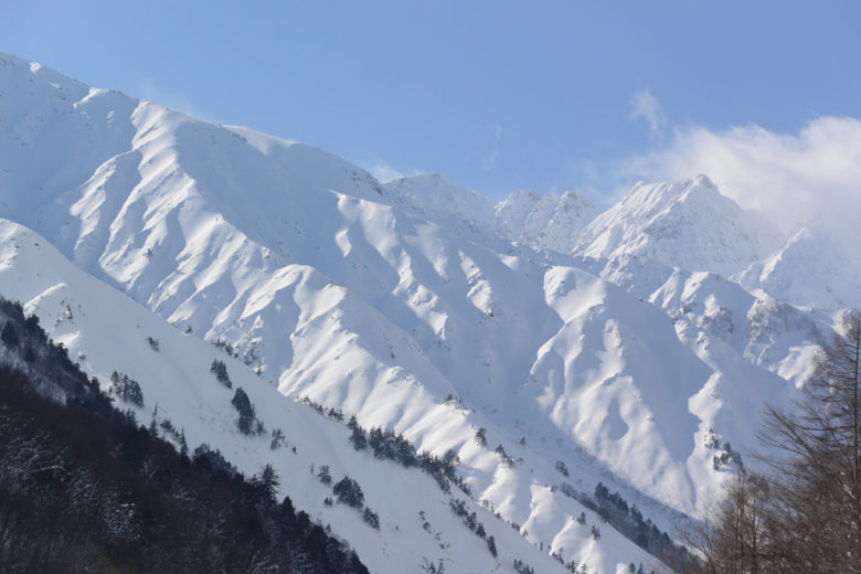 he north face runs of Happo and the Freeride World Tour competition venue on a good weather day – Hakuba Happo, Japan